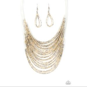 "Gold Silver ""Catwalk Queen"" Necklace Set"